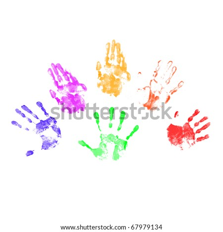 Handprints in different colors on a white background in different positions. - stock photo