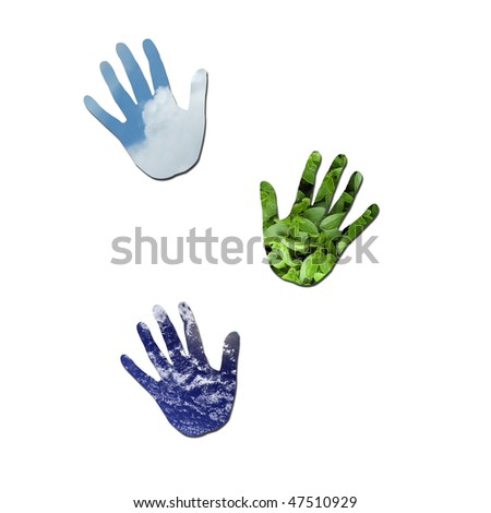 Handprints made up of green leaves, water and sky to represent enviromental issues or carbon footprint. Water photo from Nasa. - stock photo