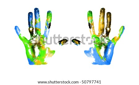 Handprints with imitation of Earth on white background