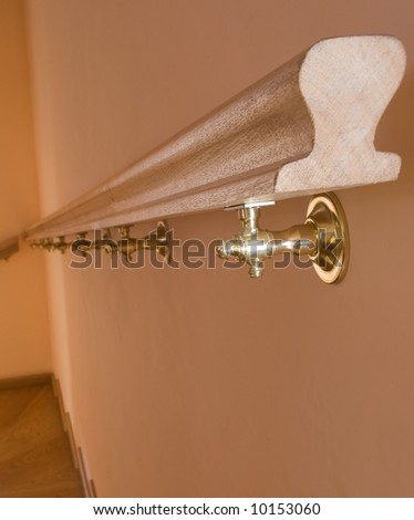 Handrail in hall - stock photo