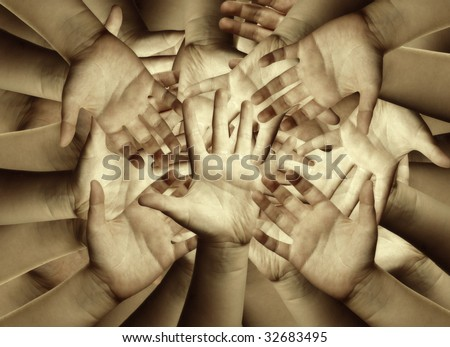 Hands, abstract background - stock photo