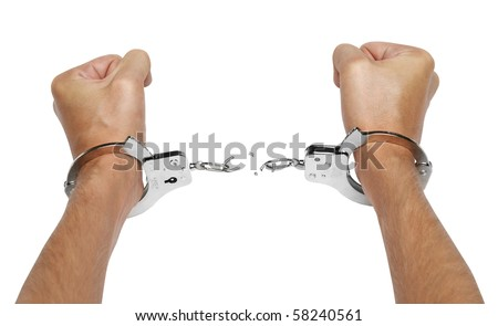 Hands and breaking handcuffs isolated on white background - stock photo