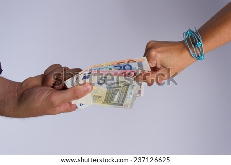 Hands and cash