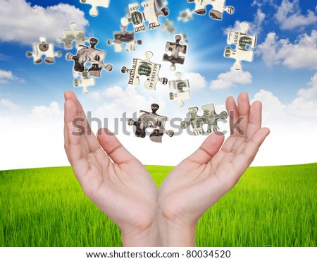 Hands and dollar money puzzle - stock photo