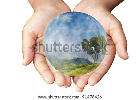 Hands and Earth. Concept of saving planet. Symbol of environmental protection and conservation. - stock photo