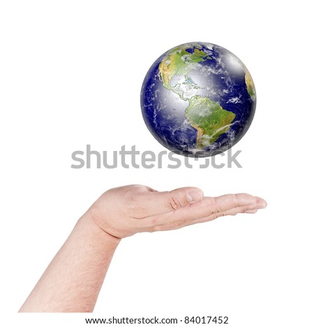Hands and Earth. Concept Save green planet and environmental protection. Data source: Nasa
