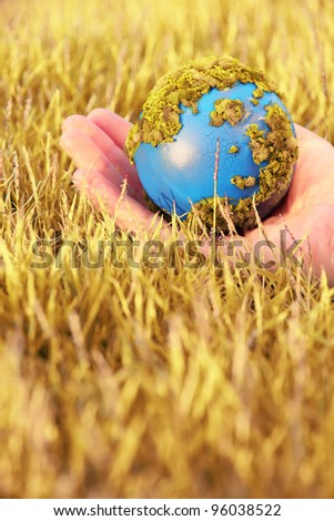 Hands and Earth, earth warming concept