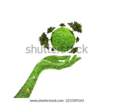 Hands and Earth, Symbol of environmental protection, Planet With Tree - stock photo