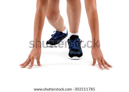 Hands and feet athlete at the starting position isolated on a white background. - stock photo
