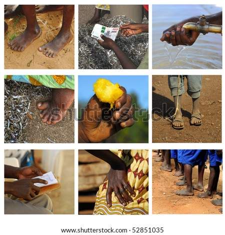 hands and feet of African people - stock photo