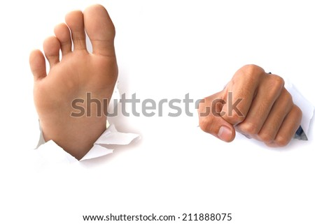 Hands and feet over paper on white Backgrounds stock photo