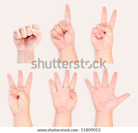 Hands and fingers sign symbol gesture from zero to five - stock photo