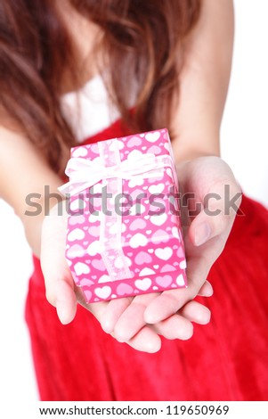 hands and gift close up isolated over white background