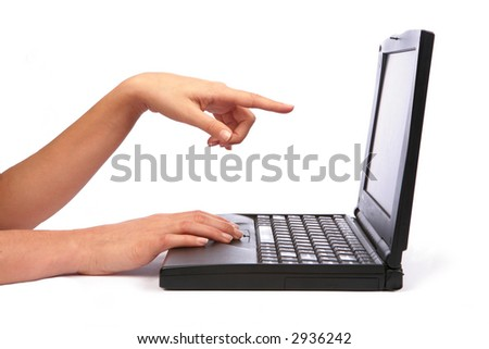 Hands and laptop