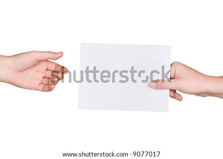 Hands and letter, isolated on white background - stock photo
