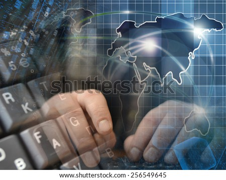 Hands and map - abstract computer background. - stock photo