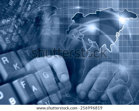 Hands and map - abstract computer background in blues. - stock photo
