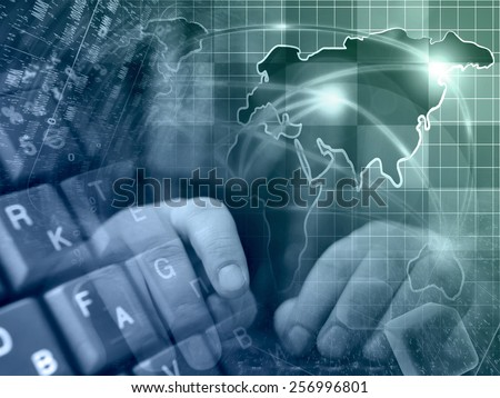Hands and map - abstract computer background, in greens and blues. - stock photo