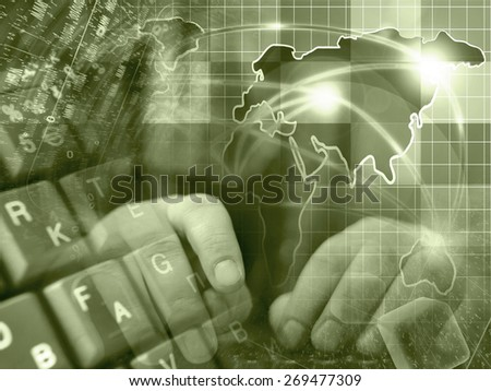 Hands and map - abstract computer background in sepia. - stock photo