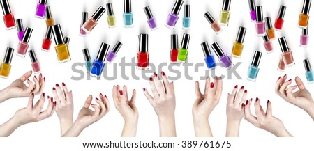 hands and nail polish on a white background - stock photo