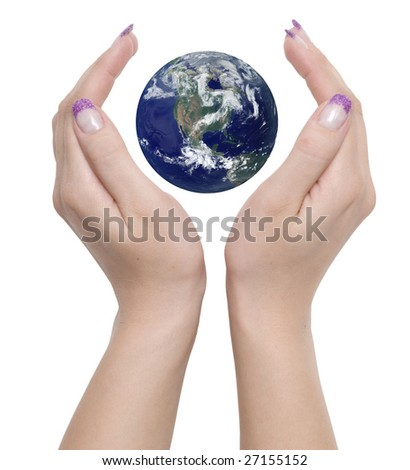 hands and planet on a white background