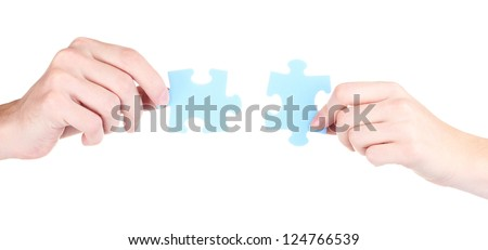Hands and puzzle, isolated on white