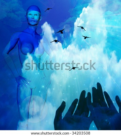 Hands and Sky - stock photo