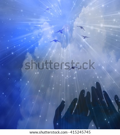 Hands and Sky 3D Render - stock photo