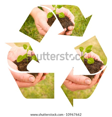 hands and soil recycle sign for earth