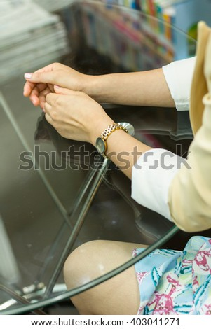 hands and watch , soft focus , selective of focus - stock photo