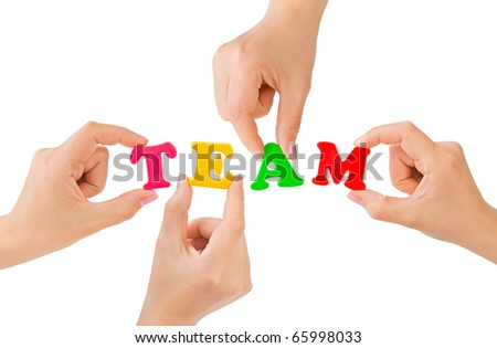 Hands and word Team - teamwork business concept - stock photo