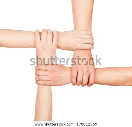 hands are closed , hands holding each other in unity - stock photo