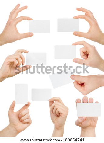 Hands are holding a business card, collection, isolated on white
