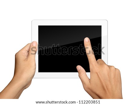 hands are holding and point on white Tablet PC Isolated - stock photo