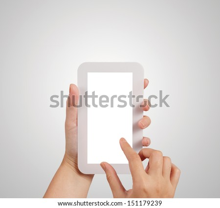 hands are holding and pointing on Smart Phone as concept - stock photo