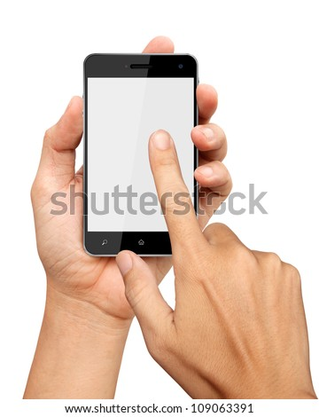 hands are holding and pointing on Smart Phone Isolated on white background - stock photo