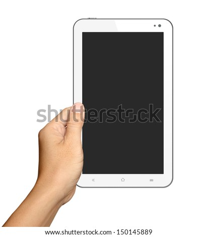 Hands are holding Small White Tablet Computer on white background - stock photo
