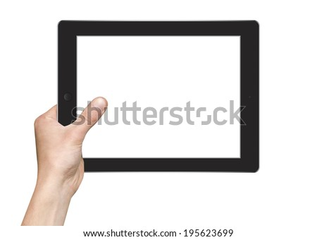 hands are holding Tablet PC Isolated - stock photo