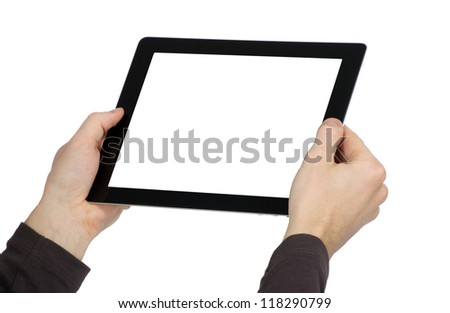 hands are holding the touch screen device - stock photo