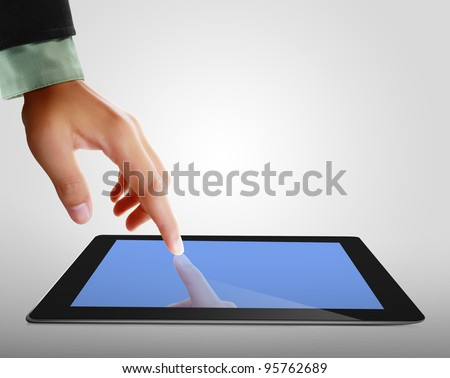 hands are pointing on touch screen ,touch-pad - stock photo