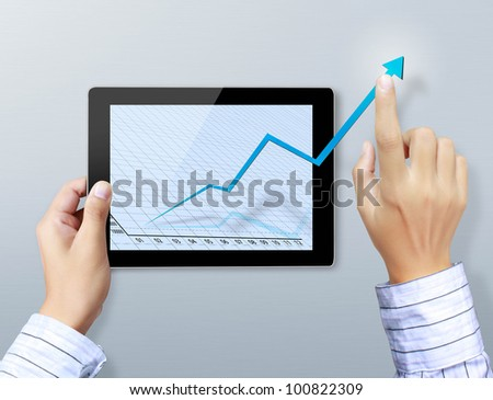 hands are pointing on touch screen ,touch- tablet - stock photo