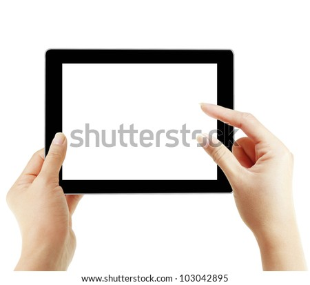 hands are pointing on touch screen ,touch- tablet isolated on white background - stock photo