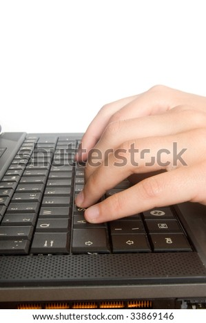 hands are typing on a keyboard isolated on white