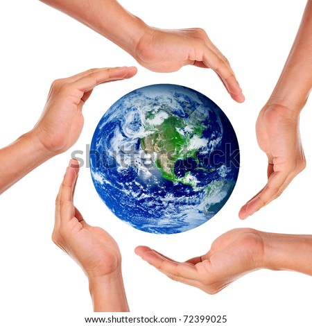 Hands around the world in signal of protection and conservation - stock photo