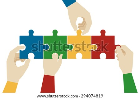 Hands assembling jigsaw puzzle pieces. Teamwork connection, idea connect, solve and success - stock photo