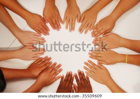 hands at the circle together - stock photo