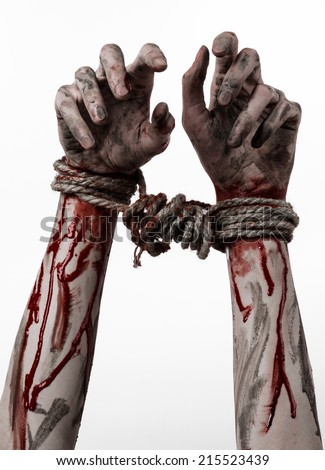 Hands bound,bloody hands, mud, rope, on a white background, isolated, kidnapping, zombie, demon - stock photo