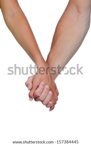 Hands clasped of two lovers isolated on white background