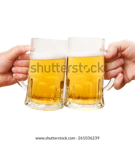 Hands Clinking Glasses Beer - stock photo