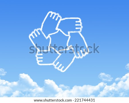 Hands cloud shape - stock photo